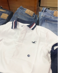 Polo Hollister trắng phối